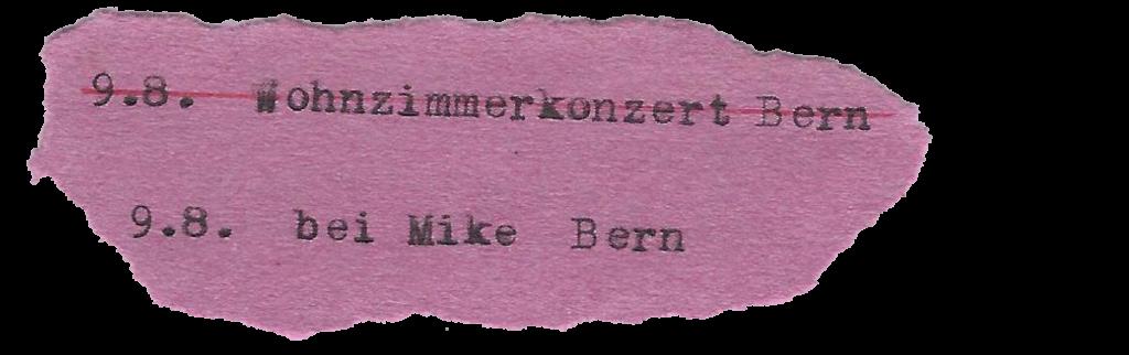 9.8. Wohnzimmerkonzert Bern 9.8. bei Mike Bern