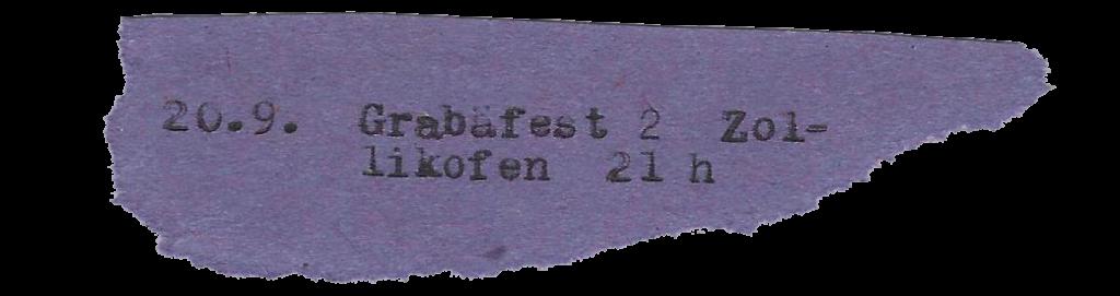 20.9. Grabäfest 2 Zollikofen 21 h